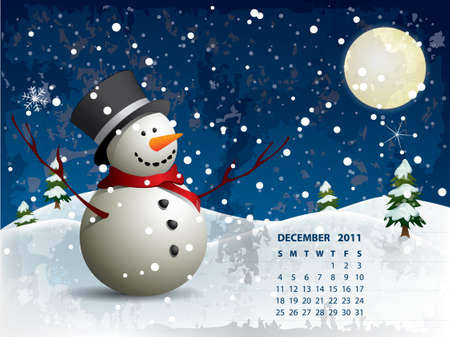 December calendar - Snowman Vector