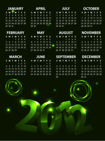 Colorful Calendar 2012 Stock Vector - 10748165