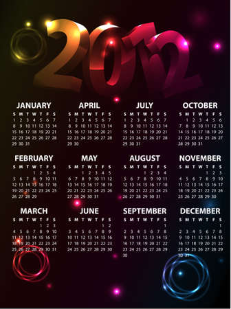 Colorful Calendar 2012 Vector