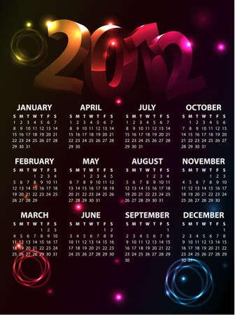 Colorful Calendar 2012 Vector