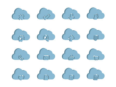 3d Icons for Cloud Computing Stock Vector - 10800905