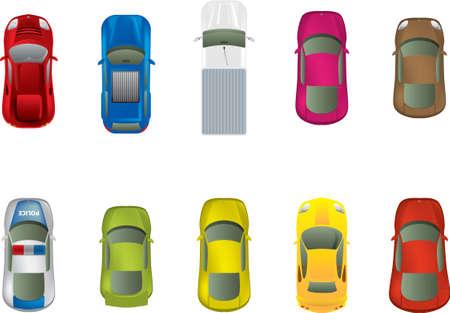 Automóviles alto punto de vista diferente