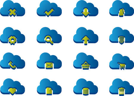 3d Icons for Cloud Computing Vector