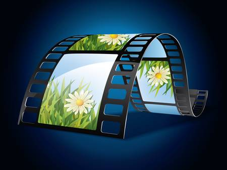 Film strip on blue background Stock Vector - 10845080