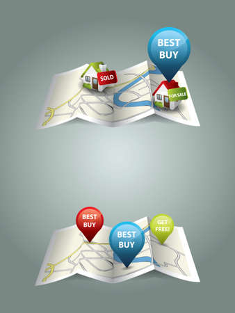 sold small: Real estate maps Illustration