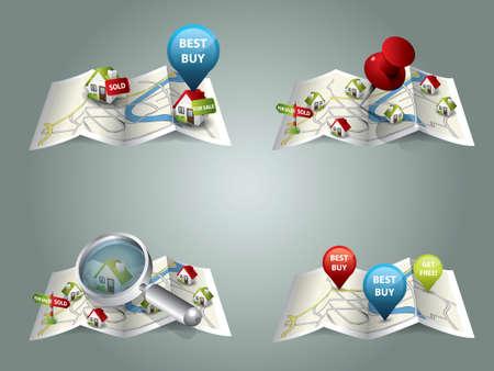 Real estate maps  イラスト・ベクター素材