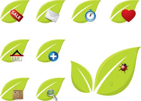 Green leaf icon set Vector
