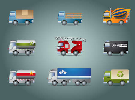 cilp: Truck icon set Illustration