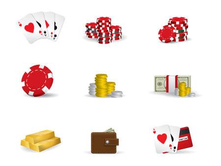 chips stack: Gambling - poker icon set
