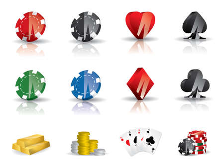 poker chips: Gambling - poker icon set