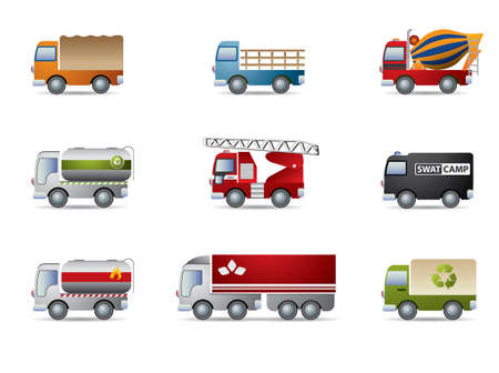forklift truck: Truck icon set on white Illustration