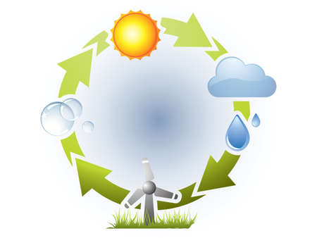 groundwater: Water cycle in nature Illustration