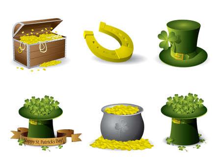 irish beer label: Saint Patricks Day symbols vector set