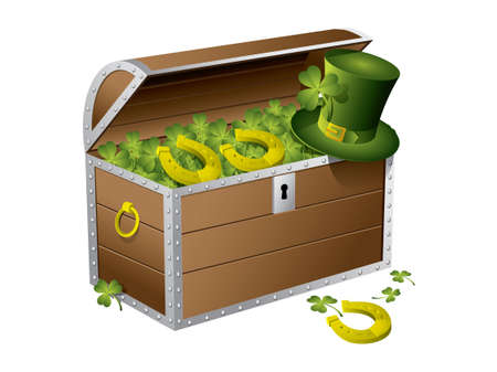 St Patrick day treasure chest Vector
