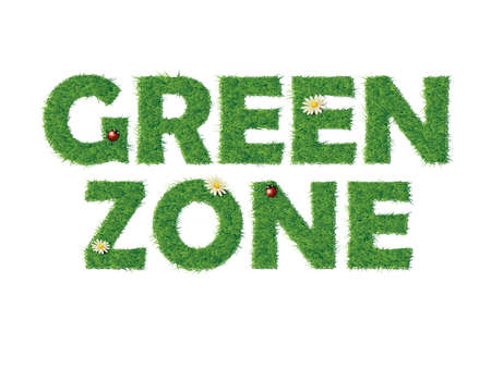 front porch: Green zone text with grass
