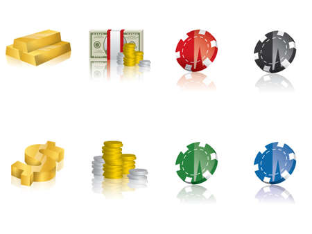 Gold, money icons Vector