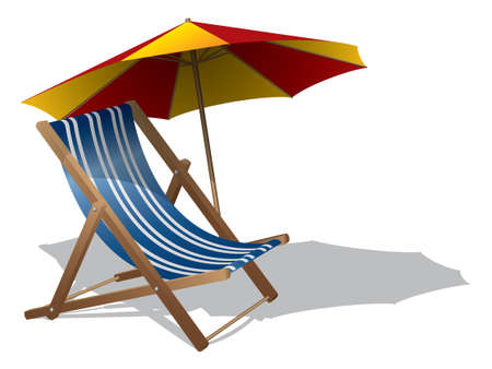 beach umbrella: Beach chair with umbrella