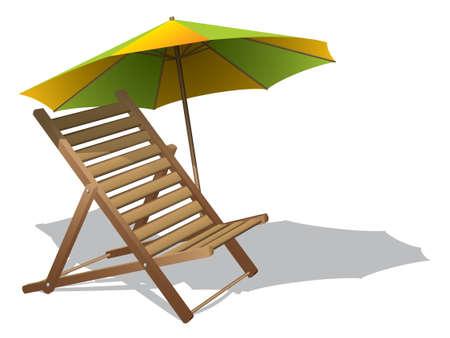 solter�a: Tumbona con paraguas Vectores