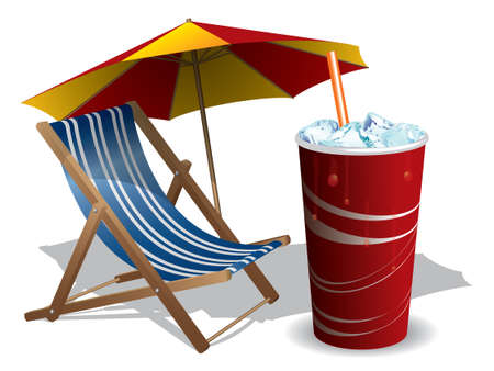 solter�a: Tumbona con paraguas y bebida Vectores