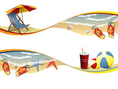 Summer beach banners Stock Vector - 12852941