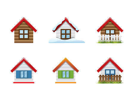 Set of 6 house icon Stock Vector - 13604334