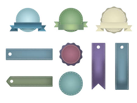 Vintage Styled Ribbons and Badges Stock Vector - 13762075