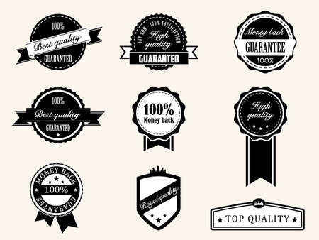 Premium Quality and Guarantee Badges with retro vintage style Stock Vector - 13773517