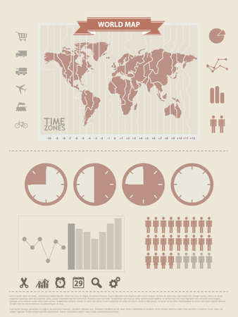 World Map and Information Graphics elements Vector