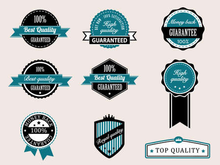 Premium Quality and Guarantee Badges with retro vintage style Stock Vector - 13966556