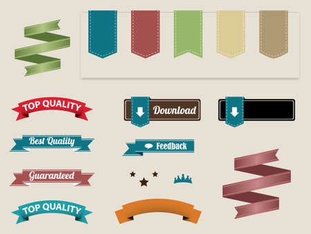 Set of retro ribbons and labels Stock Vector - 13966555