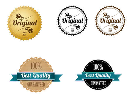 Premium Quality and Guarantee Badges with retro vintage style Stock Vector - 14037353