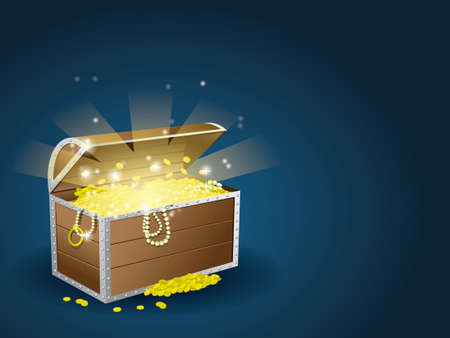 wooden box: Treasure chest Illustration