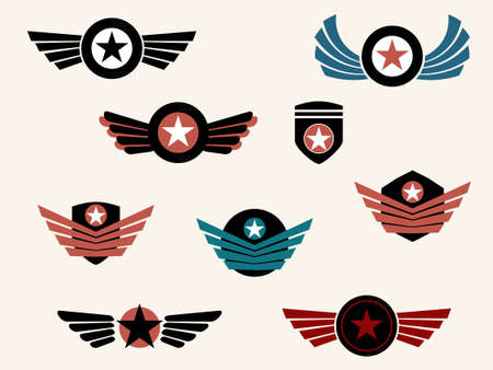 military silhouettes: Shield and badge with wings Illustration