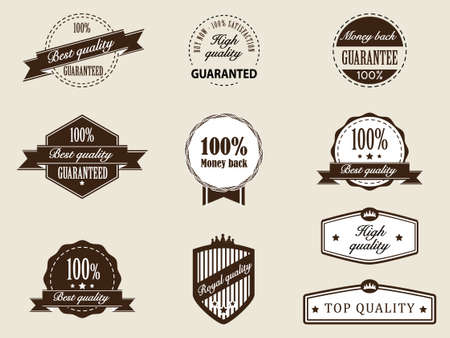 Premium Quality and Guarantee Badges with retro vintage style Vector