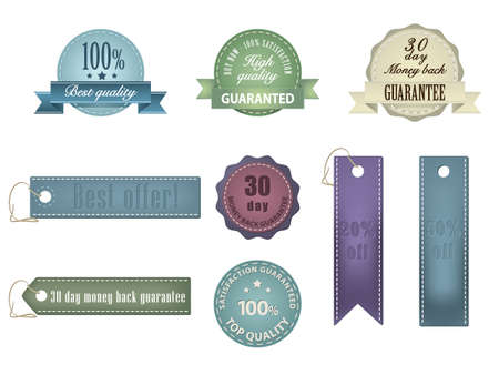 Vintage Styled Ribbons and Badges Stock Vector - 14398162