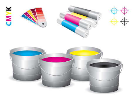 print shop: Vector print shop icon set - cmyk