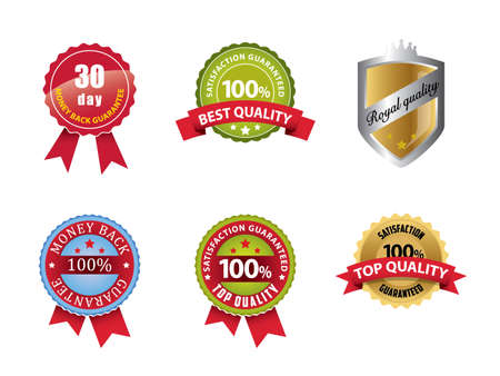 30: Money Back Guaranteed and 100  Satisfaction Guaranteed Sign Set Illustration