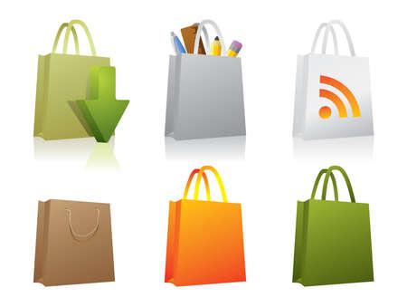 unprinted: Seis iconos de papel de bolsa de compras