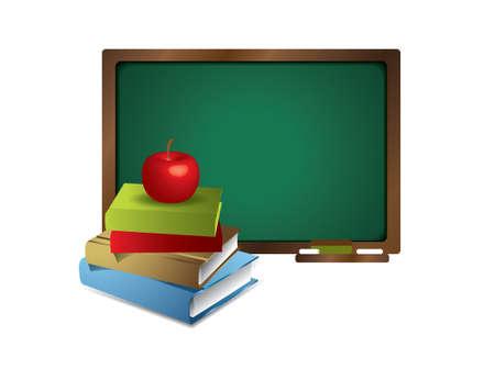 soumis: Tableau blanc avec des livres et de pomme