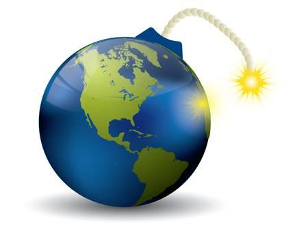 end of world: Earth bomb on white Illustration