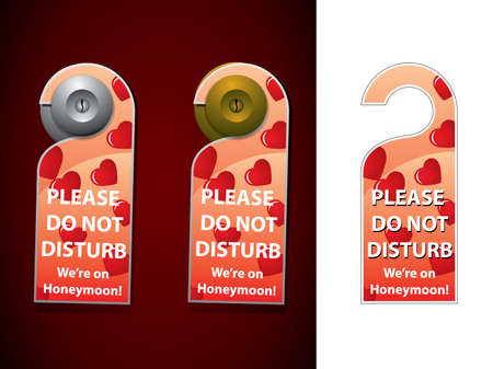 We are on Honeymoon - don not disturb hanger on door knob Vector