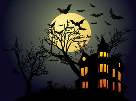 horror house: Halloween background with haunted house, bats and pumpkin