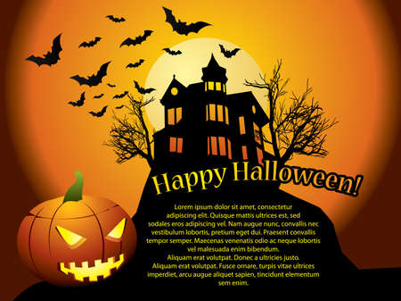 spooky house: Halloween background with haunted house, bats and pumpkin