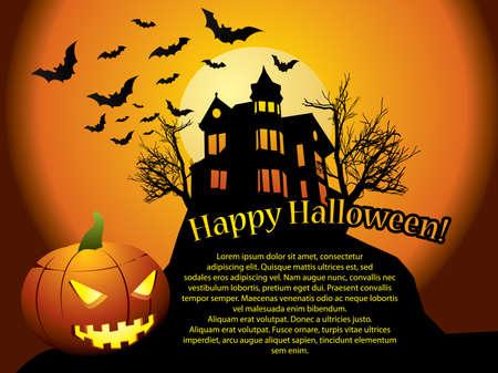 calabaza caricatura: Halloween de fondo con casa encantada, los murci�lagos y la calabaza Vectores
