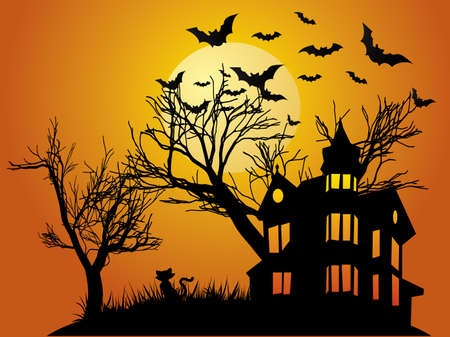 haunted house: Halloween background with haunted house, bats and pumpkin