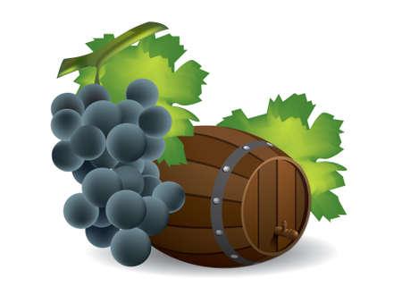 Wijnvat en druiven