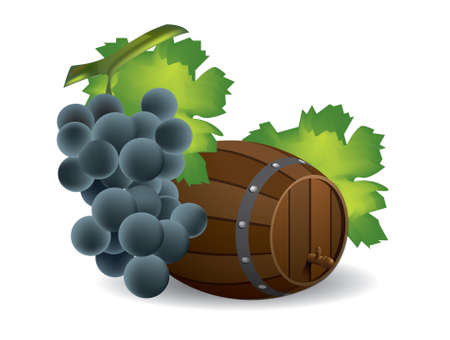 wine vineyards: Wine barrel and grape