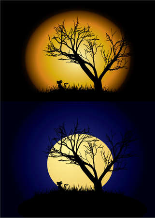 Halloween background with moon and tree Vector