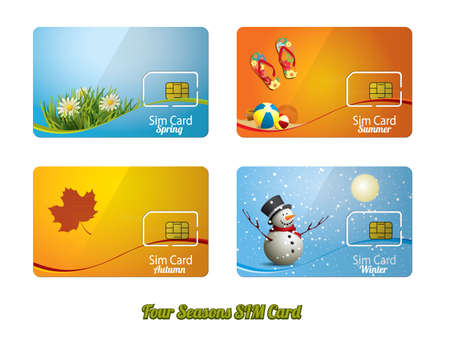 sim card: Set of four beautiful sim card