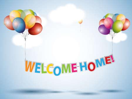 mid air: Welcome Home texto con globos de colores Vectores